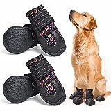 Etechydra Zapatos para Perros, 4Pcs Perro Botas Antideslizante Suela, Impermeables Protectores de Patas para Perros Pequeños Medianos y Grandes Zapatos, Negro 8#
