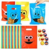 PANTIDE 60Pcs Sesame Goody Candy Treat Bags Sesame Themed Plastic Bags with Stickers, Sesame Party Favor Bags Party Supplies Decorations Elmo Monster Big Bird for Birthday Party Baby Shower