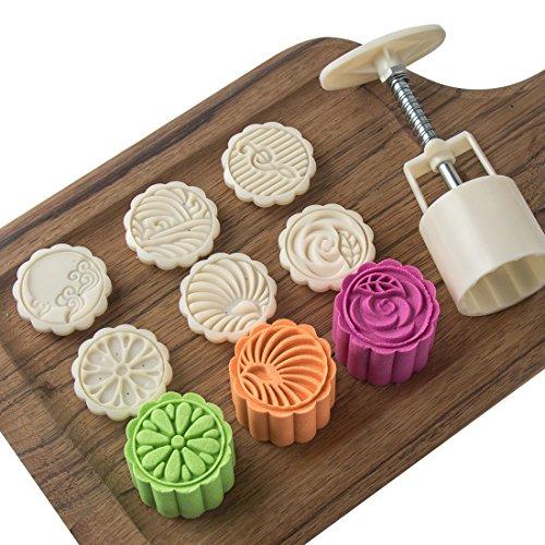 LOUTY 50g Cookie Presse Briefmarken Cutter Kuchen Mond Kuchenform mit 6 Briefmarken DIY Dekoration für Mitte Herbst Festival Geburtstag Wochenende Urlaub Jahrestag