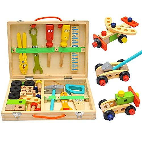 SDDS Caja de Herramientas de Madera para niños con Coloridas Herramientas de Madera, Accesorios para Juegos de construcción Juguete de construcción Educativo Creativo, para niños de 3 años o más