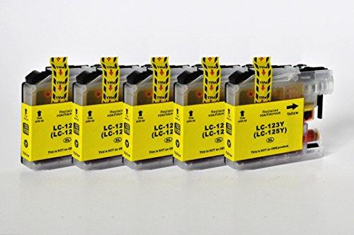 Printing Saver LC-123/LC-125 Pack de 5 Amarillo Cartuchos de Tinta compatibles para Brother DCP-J132W DCP-J152W DCP-J552DW DCP-J4110DW MFC-J470DW MFC-J4410DW MFC-J4510DW MFC-J4610DW J6520DW J6920DW