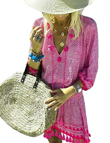 SEBOWEL dames lichte strandjurk casual zomerjurk strand cover up jurk