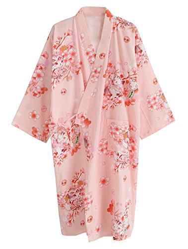 ECHERY Damen Mädchen Sommer-Kimono Aus Baumwolle Roben Floral Pyjamas Nachtwäsche Khan Gedämpft Yukata-Bademantel Orange rosa Katze