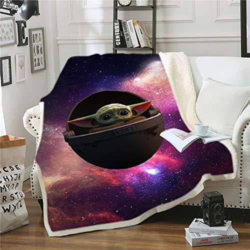 Ruiqieor Kuscheldecken 150x200 cm,Star Wars Decke, Decke Flanell Flauschige Decke, Kuschelige Wohndecke Sofadecke Reisedecke,3D-Digitaldruck Yoda Baby Kuscheldecke,Mikrofaser Decke(#06)