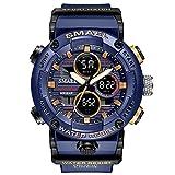 SCIDS Orologio da polso da uomo, 49 mm, impermeabile, con cronografo a punto, cronografo giornaliero/mensile, per sport ricreativi, luminoso, doppio display, orologio sportivo da uomo (colore: blu)