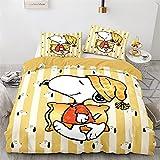 Bettwäsche 155x220,Snoopy Bettwaren,gemütlich Mikrofaser Bettbezug Kinder,Mit Reißverschluss,1 Bettbezug 155x220 Set,2 Kissenbezüge 80X80 cm