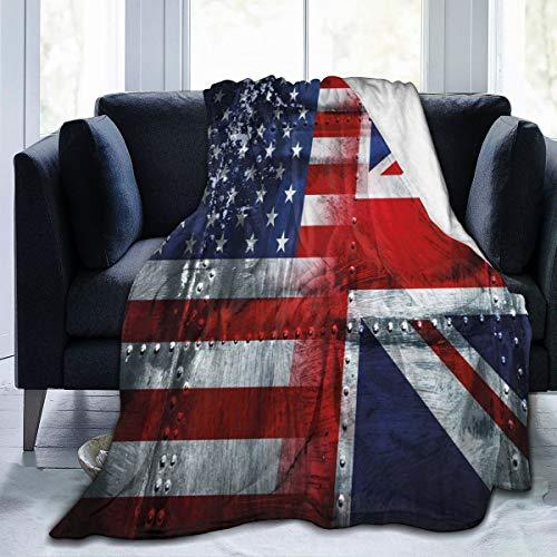 Manta de forro polar Alliance Togetherness Composición de Reino Unido y Banderas de los Estados Unidos, manta de franela vintage para invierno, suave, cálida, 50 x 65 pulgadas, para cama, sofá, silla u oficina