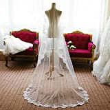 Tinksky Mode - Velo de novia con bordado de encaje (2,6m), color blanco