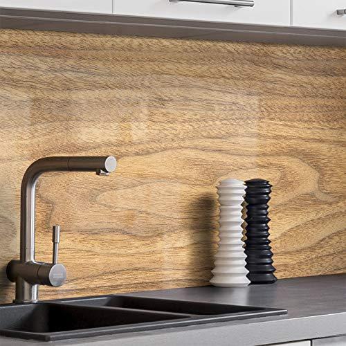 BilderKing Küchenrückwand selbstklebend 250cm x 60cm Holz-Optik, Wand B Spritzschutz für Ihre Küche in Glasoptik, Absolute Deckung und Haftung auf Fliesenspiegel und sonstigen Untergründen