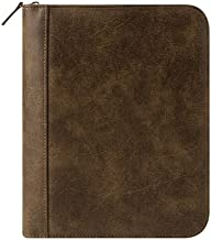 Classic FC Basics Distressed Simulated Leather Zipper Binder - Brown