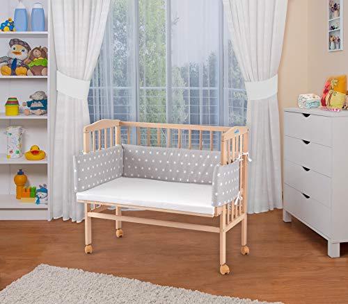 WALDIN Baby,Lettino culla,altezza regolabile,paracolpi e materasso,in 16 varianti, naturale,Superficie d'appoggio EXTRA lung. 90 x larg. 55 cm,stella bianco/grigio