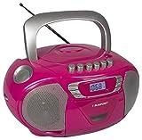 Blaupunkt Boombox 11 PLL, pinker CD Player für Kinder, tragbarer CD Spieler mit Kassettenplayer, Aux In, Kopfhöreranschluss, CD Player Kinder Hörbuch-Funktion, LED-Display, Backlight, PLL UKW Tuner