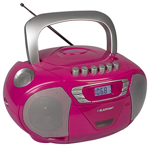 Blaupunkt Boombox 11 PLL, pinker CD Player für Kinder, tragbarer CD Spieler mit Kassettenplayer, Aux In, Kopfhöreranschluss, CD Player Kinder Hörbuch-Funktion, LED-Display, Backlight, PLL UKW Tuner