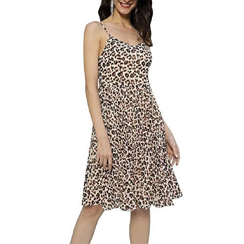 Grace KARIN Dames luipaard spaghetti strap jurk chiffon V-hals sexy zomer knielange A-lijn jurk