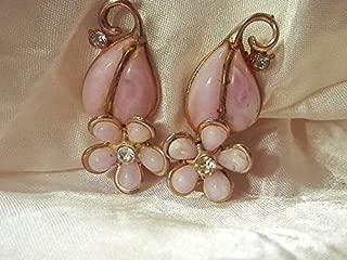 Vintage 1950's Pink Plastic Ice Rhienstone Flower Pretty Clip On Earrings PU-6531
