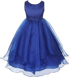 Chic Baby Girls Asymmetric Ruffles Satin/Organza Flower Girl Dress