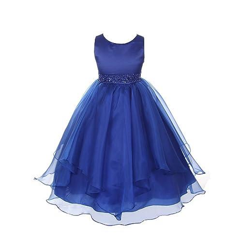 471106304 Chic Baby Girls Asymmetric Ruffles Satin/Organza Flower Girl Dress