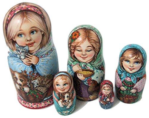 Larisa Chulkova One of a Kind Russische Nesting Puppe, kleine Mädchen mit Haustieren, 5 Stück