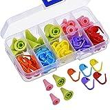 Xrten 60 Pcs Marcadores de Puntos de Bloqueo de Plástico y 2 Tamaños Tapones de Punto de Agujas de Tejer con Caja de Compartimento