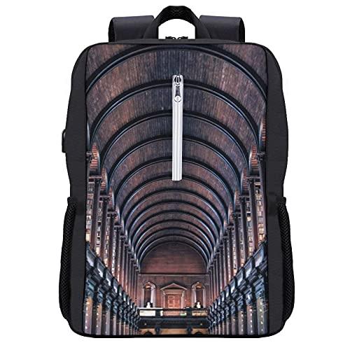 LUDOAN Zaino da viaggio,Biblioteca del Trinity College La più antica biblioteca d'Irlanda Dublino Magnifico Long,borsa per computer sottile e resistente antifurto da lavoro con porta di ricarica USB