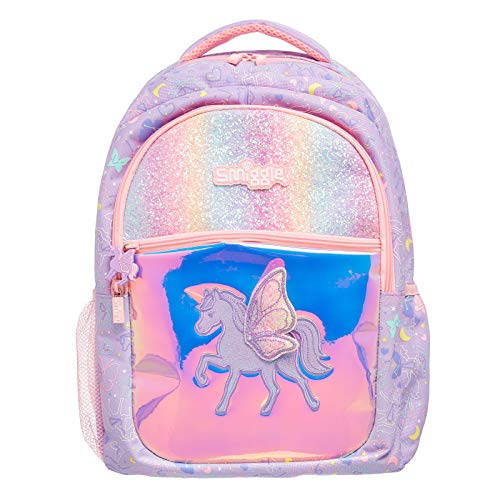 Smiggle Sky Kids School Backpack for Boys & Girls with 4 Zipped Comparments, Laptop Compartment & Dual Drink Bottle Sleeves | Unicorn Print