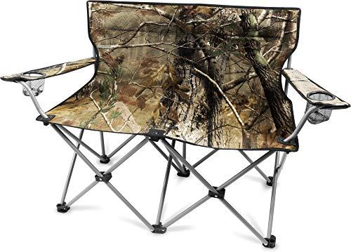 normani 2-Sitzer Campingstuhl Doppelklappstuhl Campingsofa bis 250 Kg inkl. Tragebeutel und Getränkhalter Farbe Camouflage