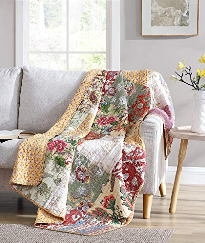 Chezmoi Collection Delaney 1-Piece Floral Patchwork Pre-Washed 100% Cotton Quilted Reversible Throw Blanket