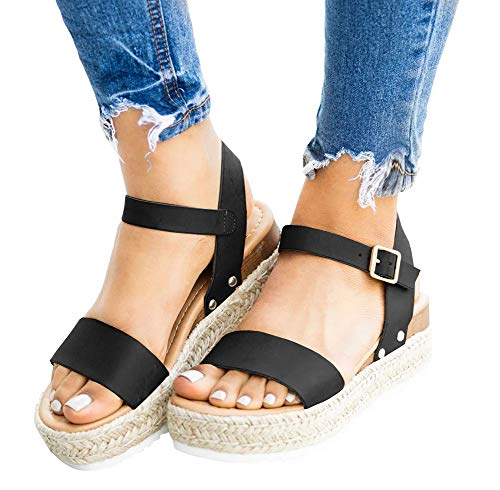 Sandálias femininas de fivela no tornozelo com tira de verão e sandálias de praia com bico aberto, plataforma Espadrille da Ecoley, Preto, 7.5