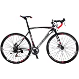 Bikes XC550 21 Speed Road Bike 54 cm Frame 700C Regular Spoke Wheels Road Bicycle Dual Disc Brake Bicycles Black White L