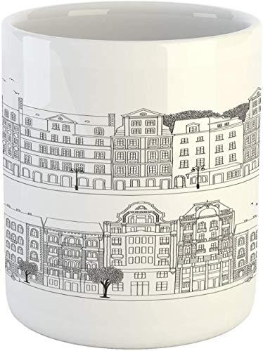 Budapest - Taza de café de cerámica con dibujo a mano con 2 siluetas de ciudad para exteriores