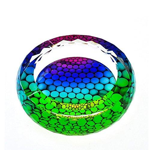 cendrier Xuan - worth having Modèle coloré 3D coloré Style d'impression cristal rond en verre Accueil Décoration de salon (taille : 18 cm)