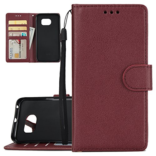 ISAKEN Custodia Galaxy S6 Edge, Cover per Samsung Galaxy S6 Edge con Strap Libro PU Pelle Case Flip Portafoglio Protezione Caso con Supporto di Stand/Carte Slot/Chiusura, Vino Rosso