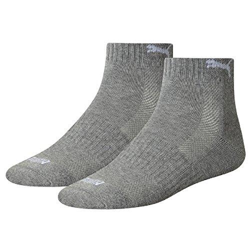 PUMA 6 Paar Quarter Socken mit Frottee-Sohle Gr. 35-46 Unisex 1/2 cush Füßlinge, Farbe:758 - middle grey mélange, Bekleidungsgröße:M
