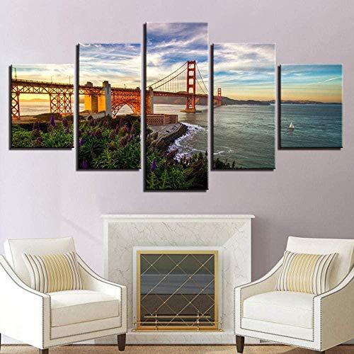cuadro en lienzo impresión de 5 piezas - Enmarcado y listo para colgar Paisaje de cielo azul del puente Golden Gate 150x80cm