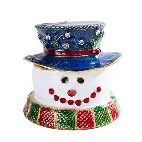 クリスマスジュエリーボックス、青帽子かけている雪だるまオーナメント、小物入れ合金製宝石箱置物、ギフト