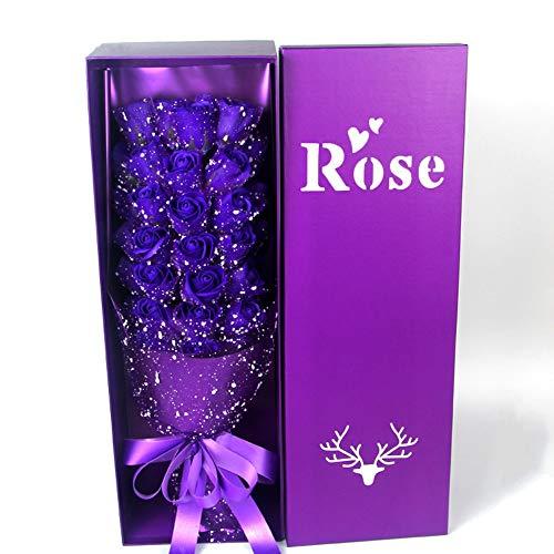 Bouquet da sposa Scatola da 33 pezzi Confezione regalo di fiori artificiali Sapone da bagno profumato alla rosa Fiori for la decorazione domestica Anniversario di matrimonio Festa della mamma Regalo d