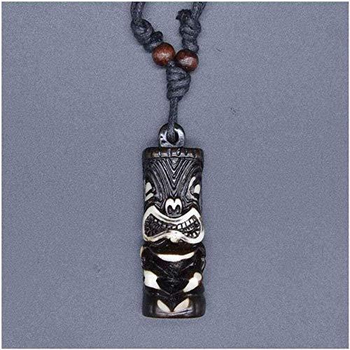 YOUZYHG co.,ltd Hombre Colgante Joyas Talismán Imitación Yak OS Totem Colgante Tribal Surfista Hawaiano Collar de Cuentas de Madera Collar de Cuello Collar de Regalo