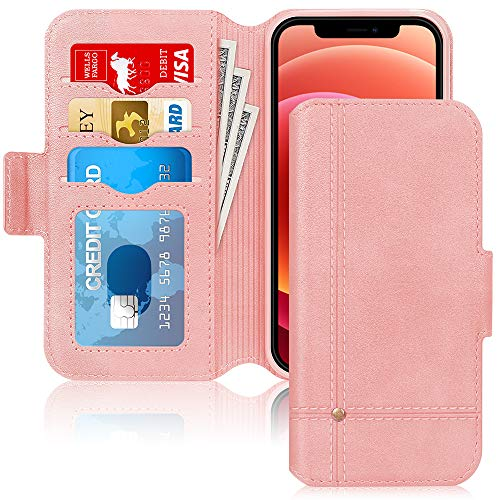 """Skycase Compatible for iPhone 12 Pro Max Case/Compatible for iPhone 12 Pro Max Wallet Case,Ultra Slim Handmade Flip Folio Wallet Case with Card Slots for iPhone 12 Pro Max 6.7"""" 2020,Rose Gold"""