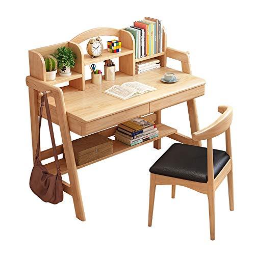 ZXJUAN Meubels om te leren, bureau van hout voor kinderen, met plank, leuk cadeau voor meisjes en jongens (zonder stoel)