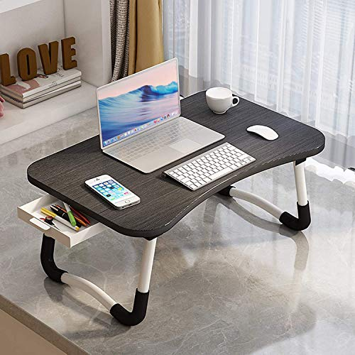 Lap Desk with Storage Drawer, ARVINKEY Adjustable Laptop Bed Tray Table, Notebook Stand Reading Holder Sofa Breakfast Bed Tray with Tablet Slots & Cup Slot for Bed/Sofa/Couch/Floor (Black)