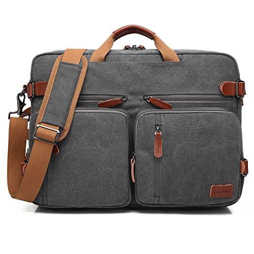 CoolBELL umwandelbar Rucksack Messenger Bag Umhängetasche Laptop Tasche Handtasche Business Aktentasche Multifunktions Reise Rucksack Passend für 17,3 Zoll Laptop/Männer/Frauen(Canvas Dunkel Grau)