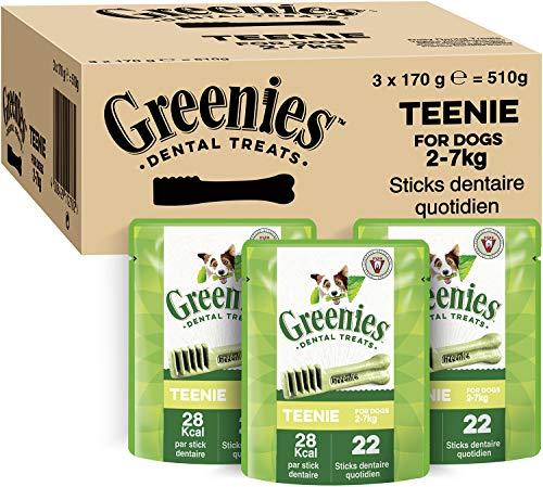 GREENIES Original Teenie – Friandises à mâcher pour très petit chien – 66 sticks pour une bonne hygiène bucco-dentaire – 3 sachets de 170g