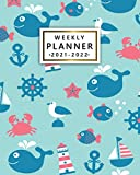 2021-2022 Weekly Planner: Cute Sea World Two Year Calendar, Diary, Agenda | 24 Month Organizer with Vision Boards, Notes, To Do Lists, Holidays | Nifty Whale, Seagull Print