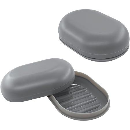 Bligli - Caja de jabón para Viajes, 2 Paquetes, Viajes, campamentos y Almacenamiento (Gris)