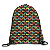 EELKKO Drawstring Backpack Gym Bags Storage Backpack, Colorful Van and Trailer On Dark Toned Background Traveling Theme Summer Vacation,Deluxe Bundle Backpack Outdoor Sports Portable Daypack