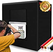Photo Box, SAMTIAN Photo Light Box 32x32x32 Inches 126 LED Light Photo Studio Shooting Tent TableTopPhotographyLightingKit with 4 Background Paper (Black,White, Red and Orange) forPhotography
