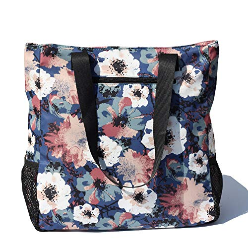 Large Travel Tote Water Resistant Shoulder Bag Lightweight Gym Tote for Men Women Unisex Day Bag (Blue White flower)