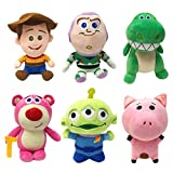 jgzwl Juguete de peluche6pcs / Set 20cm Pixar Toy Story 3 4 Woody Buzz Lightyear Aliens Hamm Dinosaur Plush Toy Peluche Animal Muñeca Suave Juguete Regalo para Niños