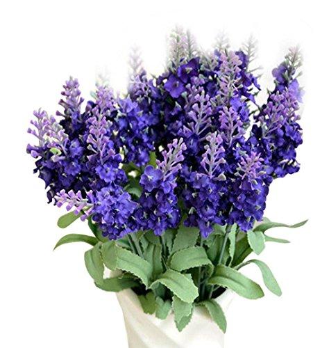 ZEZKT-Home Bouquet Künstlicher Lavendel Bouquet Kunstblumen Deko Hochzeit Lila Blumenstrauß Simulation Blumen für Haus Garten Blumengestecke Lavendel Künstliche Blumen (Dunkelblau)