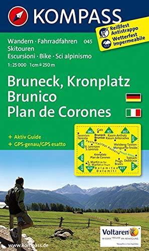 Carta escursionistica n. 045. Plan de Corones, Brunico-Kronplatz, Bruneck 1:25.000. Adatto a GPS. Digital map. DVD-ROM: Wandelkaart 1:50 000